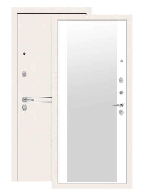 Входная дверь Лабиринт Лайн Вайт с зеркалом Белый софт