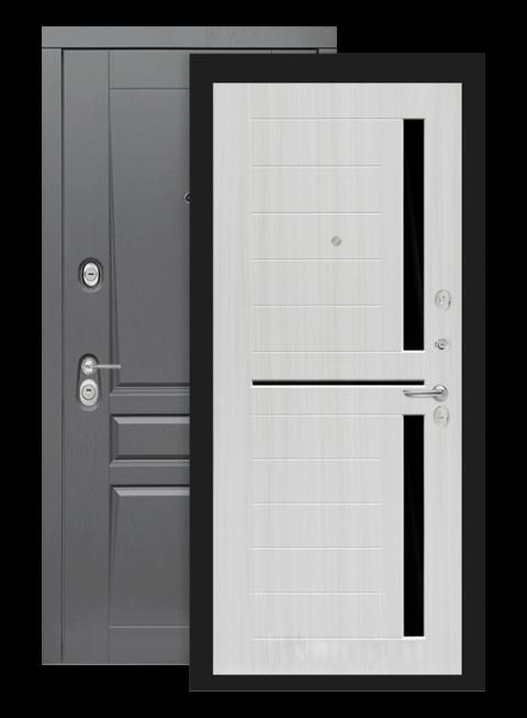 Входная дверь Лабиринт Платинум 02 сандал белый стекло черное