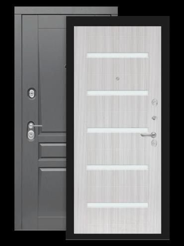 Входная дверь Лабиринт Платинум 01 сандал белый стекло белое
